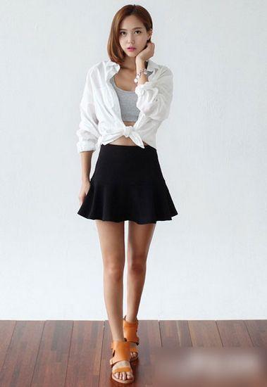 矮个子女生穿衣 高腰伞裙最实用